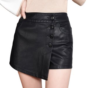 Wholesale short skirt trousers resale online - Fake Two Piece Skirts Shorts Women Black PU Leather Shorts Girls High Waist Single Breasted Short Trouser Sexy Clothing New