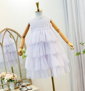 Wholesale sweet princess clothing for sale - Group buy Sweet Girls Bling Princess Dress Summer Children Beaded Sequins Gauze Party Clothing Kids Lace Vest Tulle Tutu Cake Dresses A6138