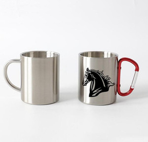 Wholesale coffee travel mug for sale - Group buy 10oz Thermal transfer Coffee Mug with Carabiner Handle Customize Stainless Steel Sublimation Mug Portable Travel Cup Sea Shipping WWA138