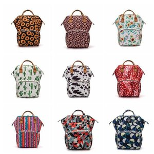 Wholesale baby diaper nappy bag designer for sale - Group buy Sunflower Diaper Bag Leopard Mommy Backpack Waterproof Nappy Bag Large Capacity Travel Backpack Baby Nursing Stroller Bags YHM642