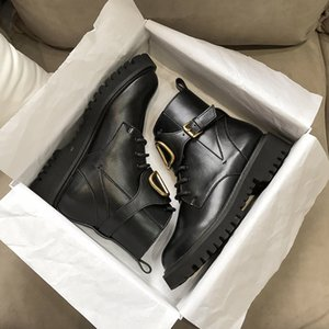 Wholesale metal knight resale online - 2021 Hot temperament Women High Quality Genuine Leather V Metal Buckle Martin boot Motorcycle boots Outdoor Thick Bottom Shoes Boot