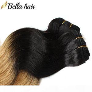 ingrosso dip tinto trama extension-8a Ombre Human Hair Extensions Dye Dye Two Tone T1B Colore pc Peruviano Body Wave Wave Treevel Weft Bellahair