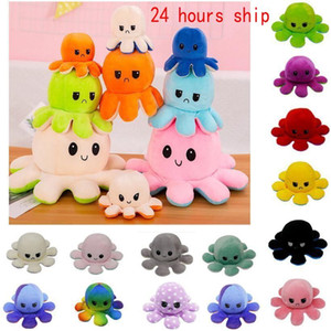 24 Hours DHL Ship!Reversible Plush Toys Soft Flip Two-Sided Octops Plush Toy Stuffed Doll Soft Simulation Octopus Cute Animal Doll Gift