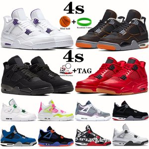 New 4 4s Mens Basketball Shoes starfish metallic purple red black cat bred pine green cactus jack men sneakers trainers US 7-13