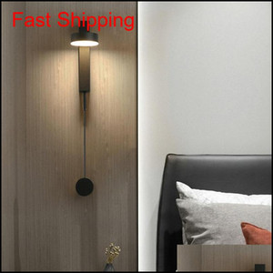 Wholesale led dim switch for sale - Group buy 12w Modern Wall Bedside Lamp With Dimming Switch White Black Wrought Metal Eye Care Led Reading Wall Light qylFlJ homes2011