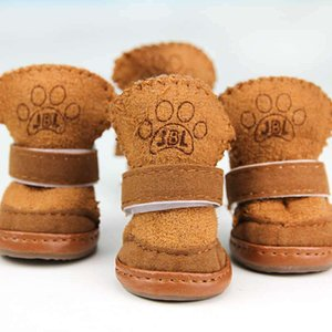 Wholesale boots dogs resale online - 4pcs set Non slip Shoes Dog Cotton Shoes Waterproof Warm Winter Dog Shoes Teddy Pet Thick Soft Bottom Snow Boots for Small Dog V2