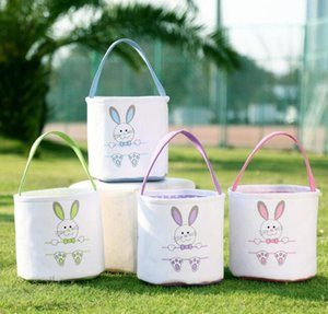 Wholesale bunny basket resale online - Easter Rabbit Bucket Easter Bunny Basket Jute Kids Egg Candies Baskets Gifts Candy Canvas Barrel Tote Easter Festival Handbags Bags