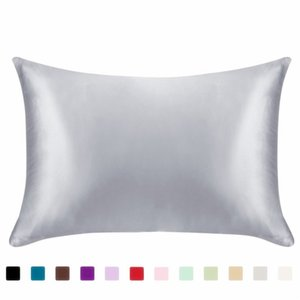 Wholesale pillow case satin for sale - Group buy 20 inch Silk Satin Pillowcase Colors Ice Silk Skin friendly Pillowslip Zipper Cover Double Face Envelope Bedding Pillow Case V2