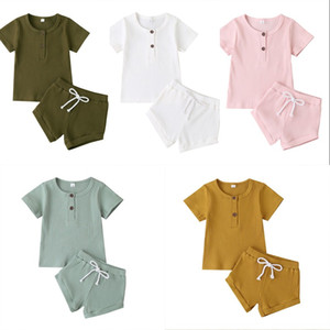 Wholesale newborn babies clothing resale online - Fashion Summer Newborn Baby Girls Boys Clothes Ribbed Cotton Casual Short Sleeve Tops T shirt Shorts Toddler Infant Outfit Set U2