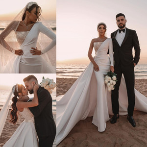 Wholesale beach satin backless sexy wedding dresses for sale - Group buy Stunning Ivory Saudi Arabic Dubai Modern Backless Wedding Dresses Sexy One Shoulder Sequins Long Train Wedding Gowns Formal bc5617