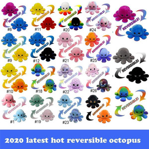 2021 Latest Reversible Flip Octopus Plush Toys 10*20cm Stuffed Animals Cute Flipped Octopus Doll Double-Sided Expression Octopus