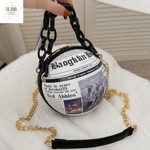 Wholesale ball and chain for sale - Group buy Newspaper Printing Ball Women Shoulder Bag Fashion Letter Print Round Design Purses and Handbags Chain Crossbody Bag for Women