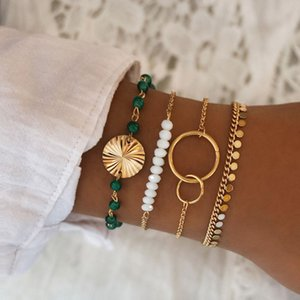 Wholesale braclets for charms resale online - 4 Set Green Beads Chain Bracelets Set for Women Beads Strand Round Loop Charm Bracelets Womens Gold Link Chain Braclets