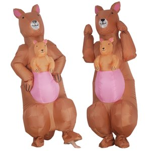 Wholesale halloween inflatables resale online - Adult Cartoon Christmas Kangaroo Inflatable Costume Man Woman Carnival Party Dress Funny Role Play Halloween Costumes mascot