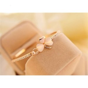 Wholesale eye korean for sale - Group buy exquisite bow peach heart love Korean clover cat s eye stone full diamond Bracelet