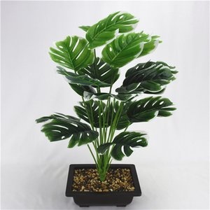 planta de monstera al por mayor-50 cm fork Gran planta artificial de plástico de hojas de tortuga de plástico Fake Monstera Branch Tropical Green Plant para Bonsai Decoración interior K2