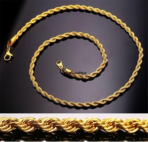 Wholesale jh gold for sale - Group buy JH k Real Gold Plated Stainless Steel Rope Chain Necklace For Men Gold Chains Fashion Jewelry Gift