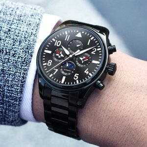 Wholesale cool black watches for men for sale - Group buy Cool Full Black Watches for Men Workable Sub dial Multi Functional Wrist Automatic Waterproof Watch Moon Phase