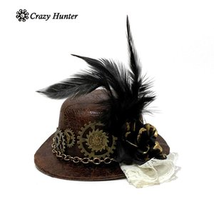 sombreros victorianos al por mayor-Femenino Steampunk Feather Gears Victorian Mini Top Hat Disfraz Accesorio X0128