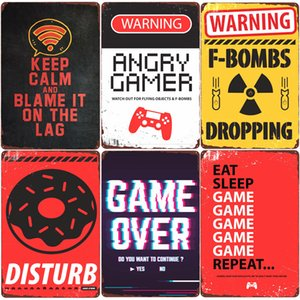 Wholesale angry sticker for sale - Group buy Warning Angry Gamer Vintage Tin Sign Gaming Repeat Poster Club Home Bedroom Decor Eat Sleep Game Funny Wall Stickers Plaque N379 Q0304