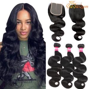 Gagaqueen Brazilian Body Wave Hair Bundles With Lace Closure 4x4 Lace Closure With Human Hair Bundles Body Wave