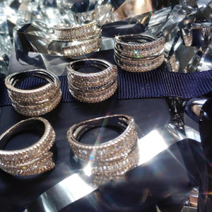 Wholesale natural pave for sale - Group buy Hip hop Style Jewelry Solid K White Gold Ring for Women Pure Natural s Diamond Gemstone Pave Setting Anillos De Rings