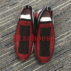 Wholesale plastic outdoor flooring for sale - Group buy Diamond Slip On Stretch Knit Sock Sneakers Rubber Sole woman shoe Italy Designer Sorrento shoe man casual outdoor Trainers