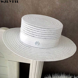 Wholesale men straw hats resale online - 2021 New Classic Unisex Straw Fedora Wide Brim Beach Summer Sun Hat for Women Men Flat Top Church Derby Cap Couple Tee Yp6r