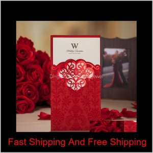 Wholesale wedding invitation purple gold for sale - Group buy Personalized Well Quality Handwork Wedding Invitation Cards Laser Cut Cards With Envelope In Gold Red And Purple Z Faf5J