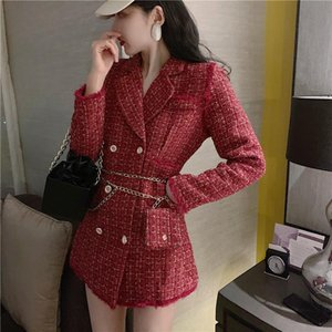 Wholesale double m bags for sale - Group buy 2021 New Gold Thread Plaid Suit Jacket Women Notched Double Breasted Fashion Tassel Trim Slim Tweed Outwear With Free Belt Bag