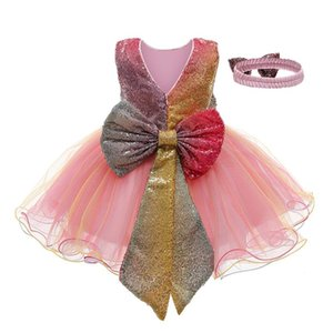Wholesale baby girls' pageant dresses resale online - Baby Dress Kids Girls Paillette Tulle Pageant Gown Birthday Party Princess Dress Vest Sleeveless Western Style Dresses Vestidos