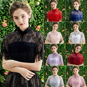 Wholesale cape shawls resale online - 11 Colors Wedding Bridal Bolero Cape Women Evening Party Dress Cape Bolero Dentelle Mariage Summer Lace Bridal Shawls And Wraps