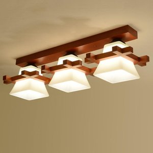 Wholesale chinese ceiling lamps resale online - Solid wood ceiling lamp balcony American new chinese aisle corridor light