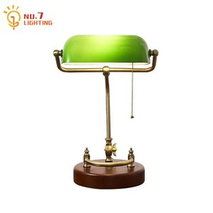 Wholesale vintage green lamps for sale - Group buy Classical Retro Vintage Metal Wood Bank Table Lamp Led E27 Green Lampshade Art Decor Home Bedroom Bedside Lamp Study Reading Bar