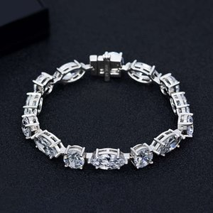Wholesale full hand bracelets for sale - Group buy HBP fashion Shipai new simulation full diamond Sterling Silver Bracelet simple versatile geometric hand jewelry