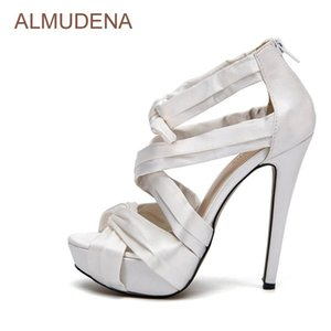 Wholesale strapped silk wedding dress resale online - ALMUDENA High End Silk Fabric Strap Sandals Extremely High Heel Dress Shoes Bowknot Wedding Shoes Butterfly know Platform Sandal
