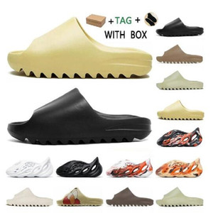 Wholesale kids foam light resale online - Double Box Fashion Resin Bone Earth Brown Desert Sand EVA Foam Runner Slides Mens Womens Kid Children Slipper Slippers Sandals