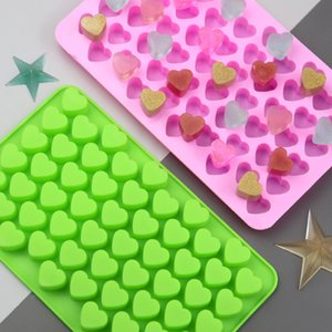 Wholesale mini silicone moulds resale online - 2 color Baking Moulds Bakeware small love food silicone Chocolate Mold Mini Heart shaped silicone mold T2I51732