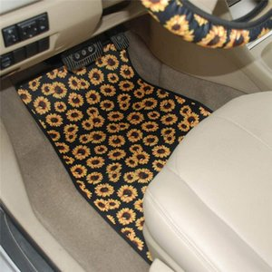 Wholesale floor mats cars resale online - 5pcs set Neoprene Car Floor Mats Steering Wheel Cover Set Design Car Foot Mat Skull Head Sunflower Tie dye Leopard Print GWF5292