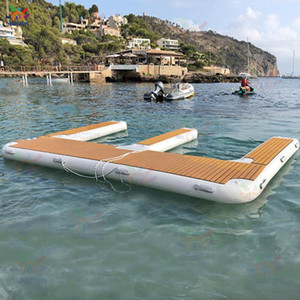 Wholesale ski boats resale online - luxurious Jet ski Floating Dock Inflatable Motor Boat Dock Pontoon Inflatable Floating Island for Lakes and Sea