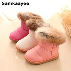 Wholesale snow boats for sale - Group buy 0 Y Children Boots Winter Girls Boys Snow Boats Pu Leather Fur Cotton Shoes Toddler Solid Waterproof Sneakers Y32
