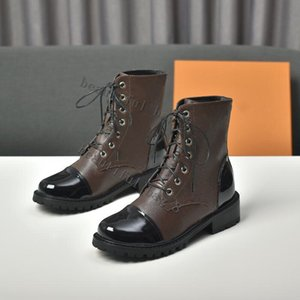 Wholesale belt buckle boot high heels resale online - high quality designer Woman s Leather shoes Lace up Ribbon belt buckle ankle boots platform boots heel round head with box