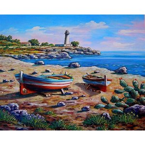 ingrosso paesaggio di pittura ad olio-Ruopoty Sea Boat Painting by Numbers Kit Home Decor x75cm Paesaggio Pittura ad olio Artigianato Handmade Regali Unici per adulti Bambini