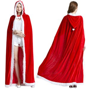 Wholesale costume cloaks capes resale online - 3Size Red Velvet Hooded Cape Cloak Sexy Santa Cosplay Christmas Costumes Women Carnival Party Clubwear Winter Warm Overcoat