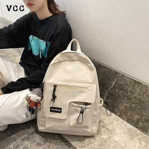 Wholesale vcc cotton for sale - Group buy Bag School Color Solid Trend High Japanese College Backpack Casual Fashion Canvas VCC Men s Campus Ipelr