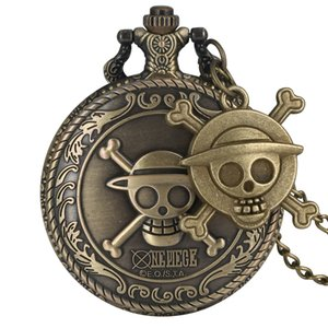 Wholesale unique pocket watches resale online - Vintage Pirate Luffy One Piece Quartz Pocket Watch Mens Clock Womens Gift Unique Cosplay Pendant reloj with Skull Accessory