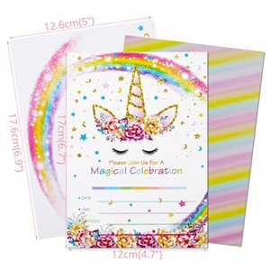 Wholesale invitations themes resale online - Birthday Cards With Envelope Unicorn Theme Invitation Card Baby Shower Supplies Party Favors Wedding Invitations Greeting Card