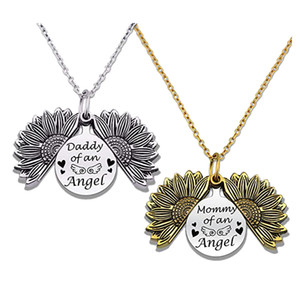 Wholesale new mommy gifts resale online - 2020 New Sunflower Open Locket Pendant Necklace Antique Gold Silver Plated Mommy Of An Angel Necklaces Gifts For Mothers Fathers