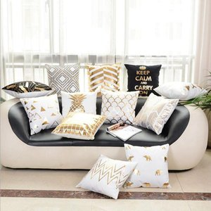 Wholesale black white sofa covers resale online - Bronzing Cushion Cover Gold Printed Decorative Pillow Covers Sofa Seat Car Throw Pillowcase Lips Eyelash Black White GoldHomeDecor LQPYW1168
