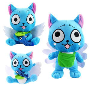 Wholesale anime fairy tails for sale - Group buy High Quality cm cm Fairy Tail Holding Fish Happy Blue Cat Cartoon Anime Plush Doll Toy Doll